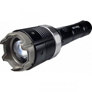 Electrosoc metalic cu lanterna pentru autoaparare si reglaj