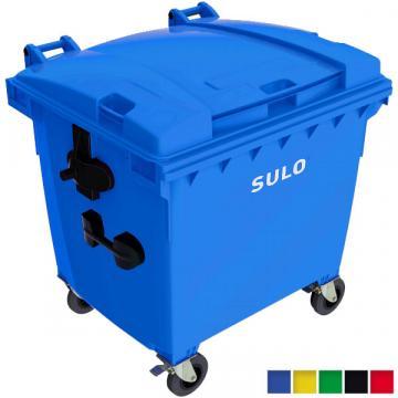 Eurocontainer plastic gunoi, 1100litri, capac plat, Sulo