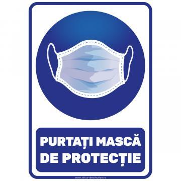 Indicator autocolant - Purtati masca de protectie - A4 de la Sirius Distribution Srl