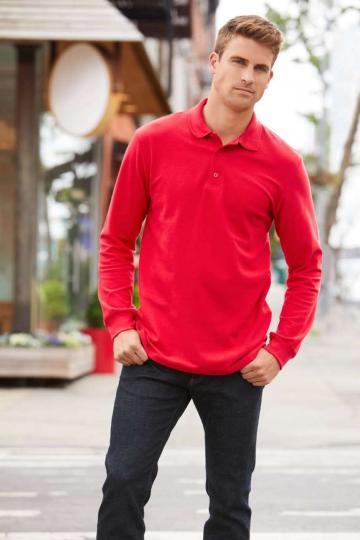 Bluza Premium Cotton Adult Long Sleeve Double Pique Polo de la Top Labels