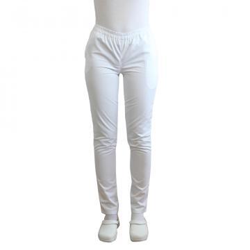 Pantaloni medicali albi cu elastic si doua buzunare laterale de la Doctor In Uniforma SRL