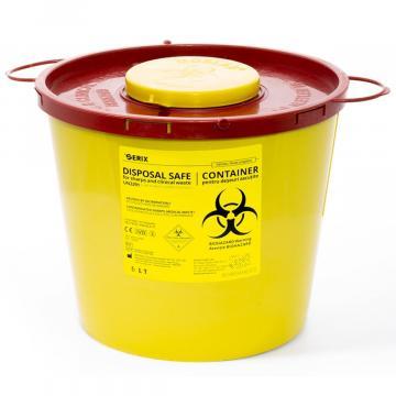 Recipient 5 litri, plastic, deseuri intepatoare / taioase