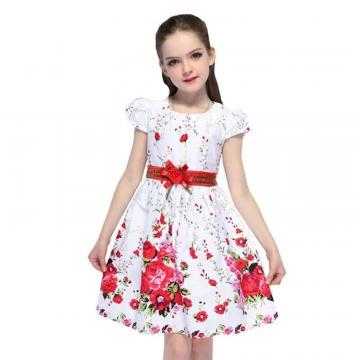 Rochita subtire de vara Iva, bumbac, alb cu trandafiri rosii