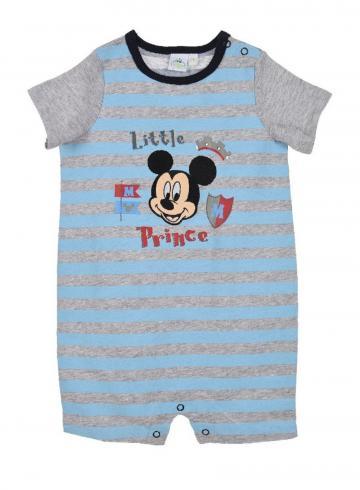 Salopeta bebe baieti, Mickey Prince, bumbac, bleu cu gri