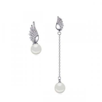 Cercei cu cristale zirconiu si perle Angel Wings