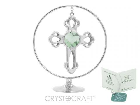 Cruciulita argintie Swarovski Circle of faith
