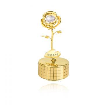 Figurina Trandafir cu cristale Swarovski - cutiuta muzicala