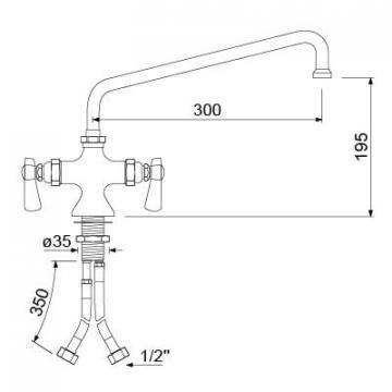 Baterie cu doi robineti si alimentare comuna 16, L=300mm