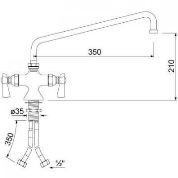 Baterie cu doi robineti si alimentare comuna 16, L=350mm