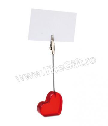 Clema pentru notite, inima rosie