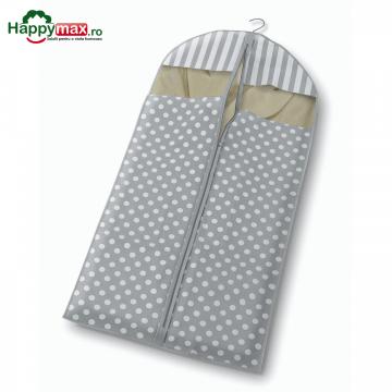 Husa lunga pentru protectie haine-Trend gri 137x60cm