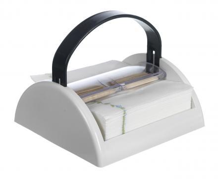 Suport servetele masa si scobitori-maner gri de la Plasma Trade Srl (happymax.ro)