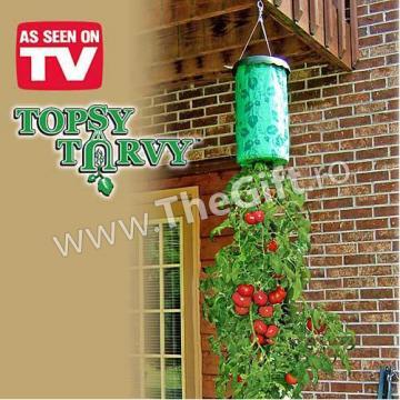 Ghiveci plantat rosii Topsy Turvy de la Thegift.ro - Cadouri Online