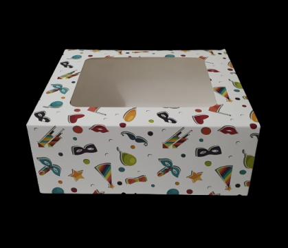 Cutie carton cu fereastra party 20x23x9,2cm 25 buc/set de la Cristian Food Industry Srl.