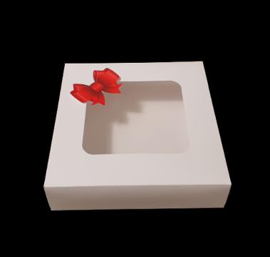 Cutie alba carton cu fereastra si fundita 22x22,5x5cm de la Cristian Food Industry Srl.