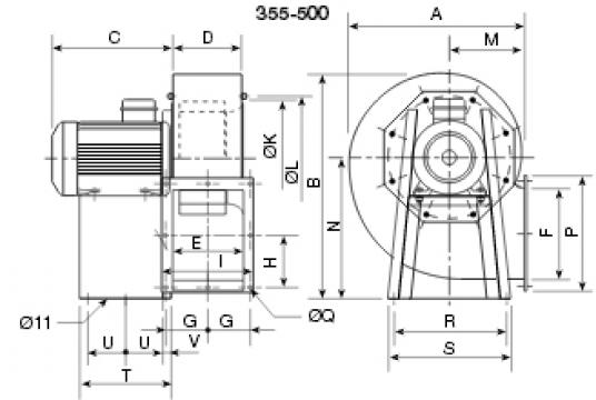 Ventilator centrifugal 400 grade CHMT/6- 400/165 2.2kw de la Ventdepot Srl