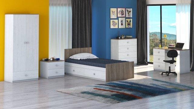 Mobilier camera tineret Rares, culoare ulm sonoma de la CB Furniture Srl