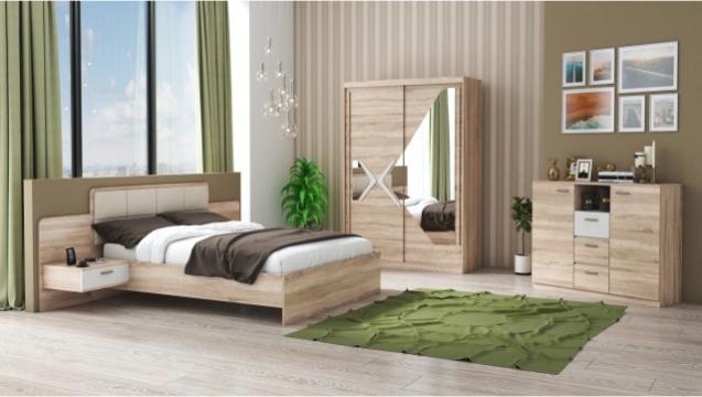 Set dormitor Domino, sonoma, dulap 150 cm, pat 160x200 cm de la CB Furniture Srl