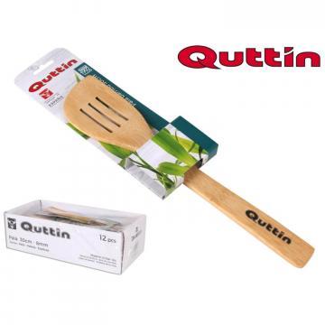 Lingura de gatit perforata din lemn de bambus 33 cm - Quttin de la Plasma Trade Srl (happymax.ro)
