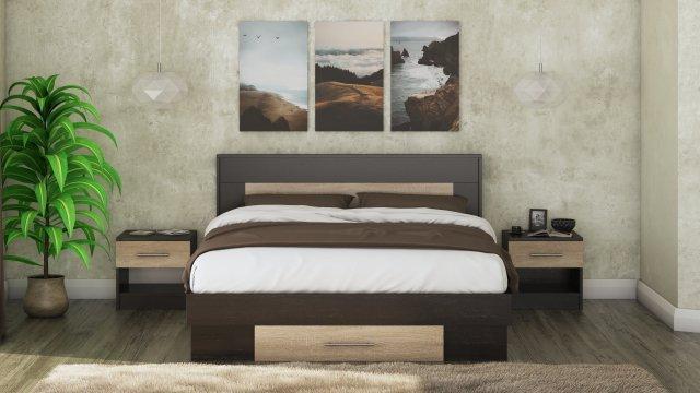 Set pat Beta, wenge/sonoma, saltea 160x200 cm, 2 noptiere de la CB Furniture Srl