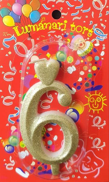 Lumanari tort aurii cifra 6 20 buc/cutie de la Cristian Food Industry Srl.