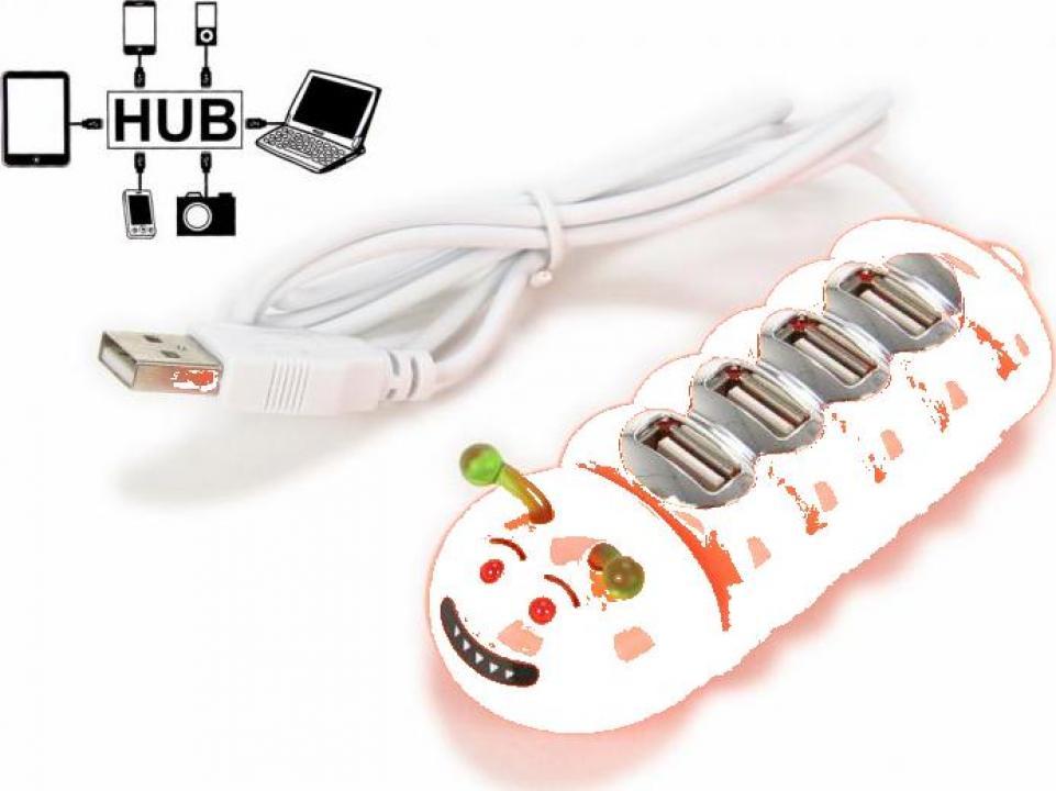 Hub USB port 4 x USB - Omida portocalie