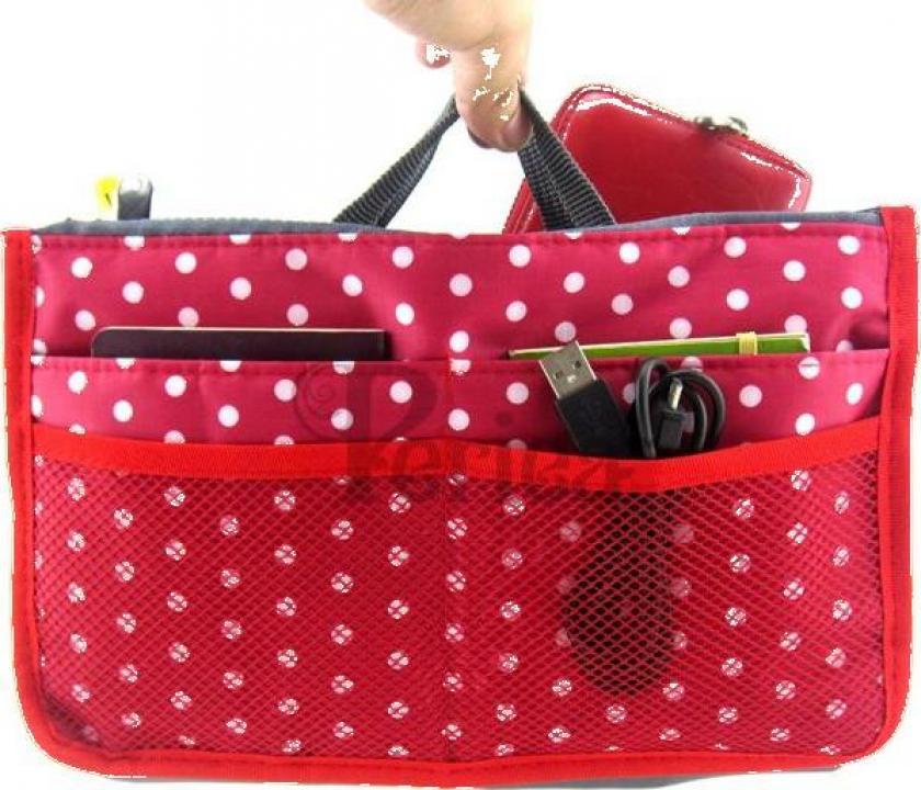 Organizator geanta sau poseta Chelsy-rosu cu buline albe