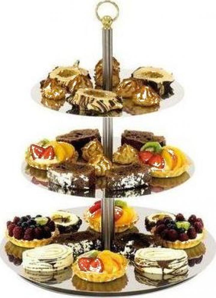 Suport inox pentru tort sau prajituri 3 etajere