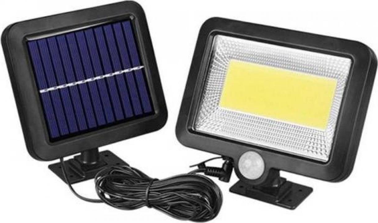 Proiector 10W 128 LED cu senzor de miscare si panou solar