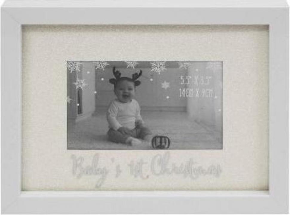 Rama foto cu sclipici pentru primul Craciun al bebelusului