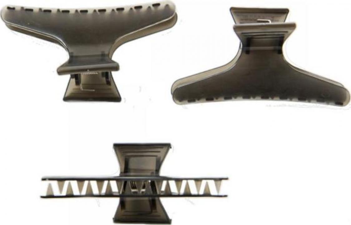 Clema par, fluture, plastic, negru, 6.5cm (6 bucati)