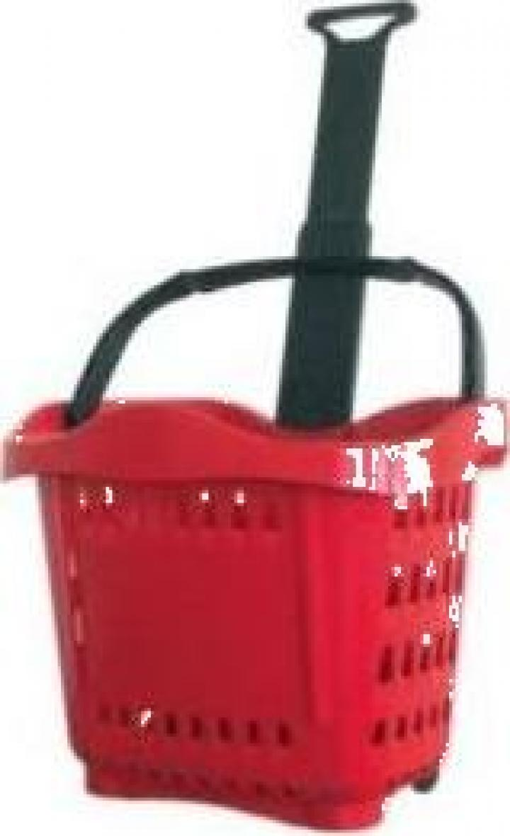 Cos cumparaturi roller din plastic 43 litri