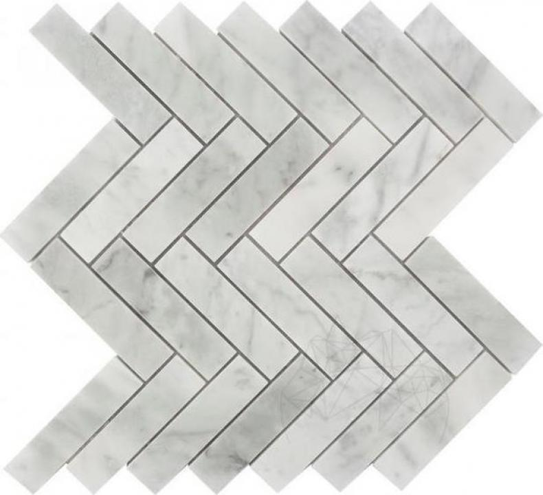 Mozaic marmura Bianco Carrara Chevron Mata